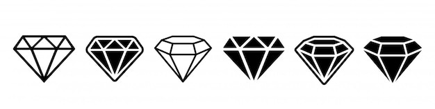 Conjunto de ícones de diamante