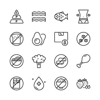 Conjunto de ícones de dieta cetogênica