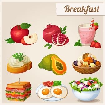 Conjunto de ícones de diferentes alimentos. café da manhã.