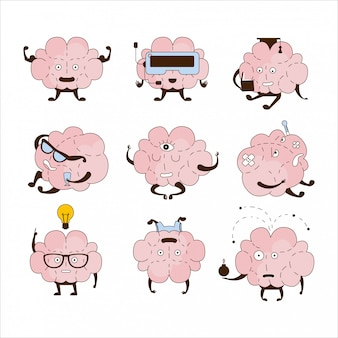 Conjunto de ícones de diferentes atividades e emoções do cérebro