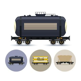 Conjunto de ícones de diferentes tipos de vagões de carga