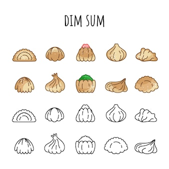 Conjunto de ícones de dim sum. cor e contorno. comida quente