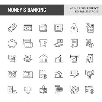 Conjunto de ícones de dinheiro e serviços bancários