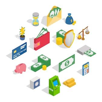 Conjunto de ícones de dinheiro, estilo isométrico