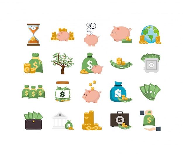 Conjunto de ícones de dinheiro isolado