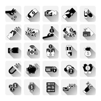 Conjunto de ícones de dinheiro mobile banking sem contato pagamento compras apps conceito cartões de crédito moderno tecnologia coleção