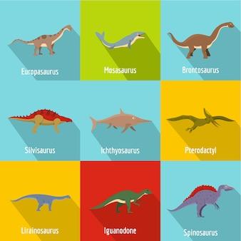 Conjunto de ícones de dinossauro. plano conjunto de 9 ícones de vetor de dinossauro