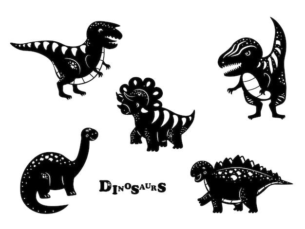 Conjunto de ícones de dinossauros ilustração vetorial trex stegosaurus brachiosaurus triceratops