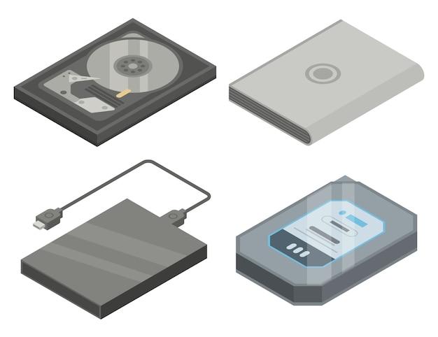 Conjunto de ícones de disco rígido, estilo isométrico