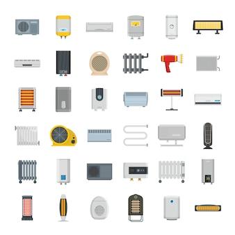 Conjunto de ícones de dispositivo de aquecedor elétrico