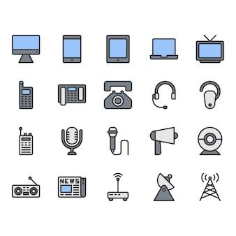 Conjunto de ícones de dispositivo de comunicação