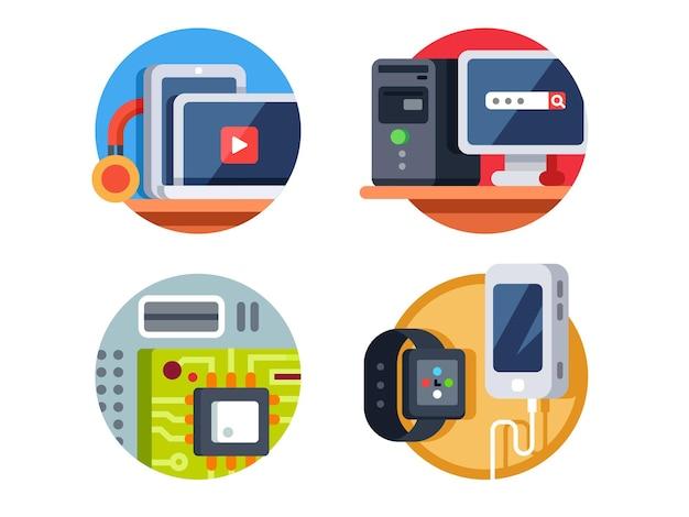 Conjunto de ícones de dispositivos de computador
