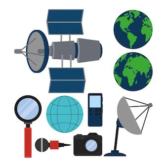 Conjunto de ícones de dispositivos de jornalismo