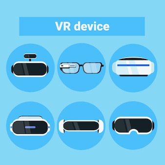 Conjunto de ícones de dispositivos de vr modern óculos de realidade virtual, óculos e coleção de fone de ouvido