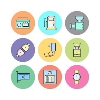 Conjunto de ícones de dispositivos eletrônicos isolado no branco