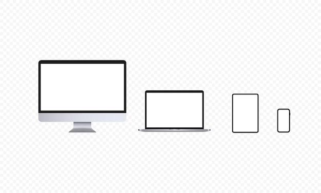 Conjunto de ícones de dispositivos realistas. tela de computador, notebook, tablet e smartphone. tema claro. laptop, tela de pc. vetor em fundo transparente isolado. eps 10.
