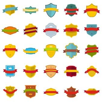 Conjunto de ícones de distintivo de escudo