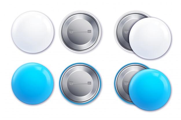 Conjunto de ícones de distintivo maquete realista de azul e branco luz na ilustração de forma redonda
