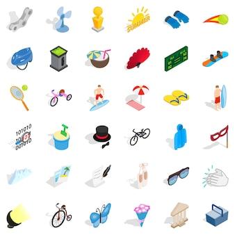 Conjunto de ícones de diversões, estilo isométrico