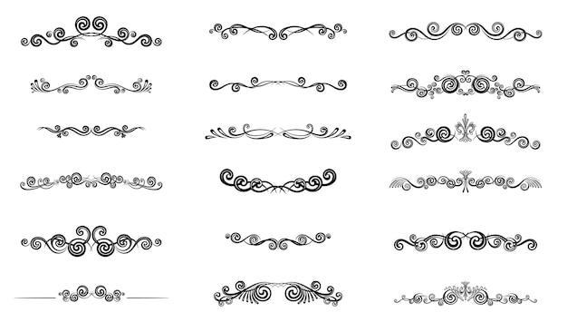Conjunto de ícones de divisor de texto kit de elemento de borda de sinal de contorno