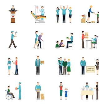 Conjunto de ícones de doação de caridade