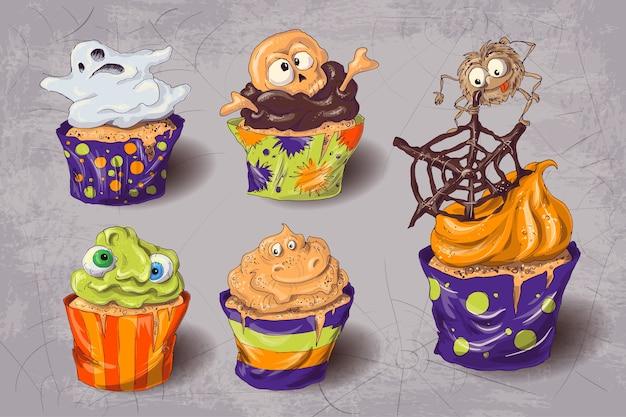 Conjunto de ícones de doces coloridos de festa de halloween