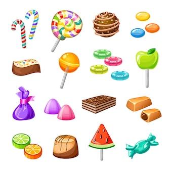 Conjunto de ícones de doces de cor