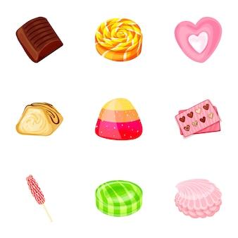 Conjunto de ícones de doces de frutas, estilo cartoon
