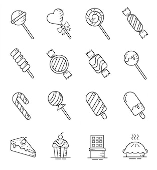 Conjunto de ícones de doces e balas com estilo de estrutura de tópicos
