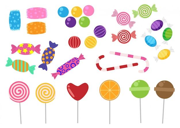 Conjunto de ícones de doces e balas em branco