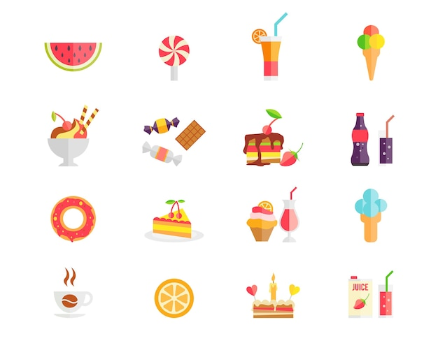 Conjunto de ícones de doces, sobremesas e bolos coloridos com melancia