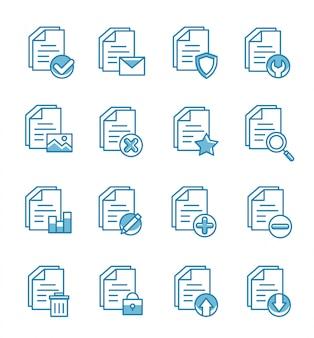 Conjunto de ícones de documento com estilo de estrutura de tópicos. Vetor Premium