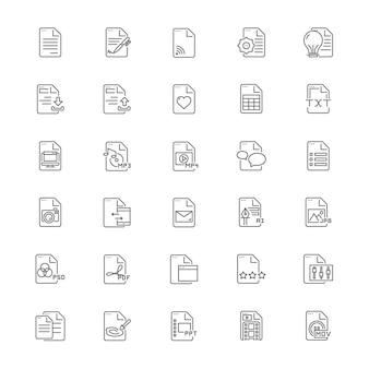 Conjunto de ícones de documento de arquivo