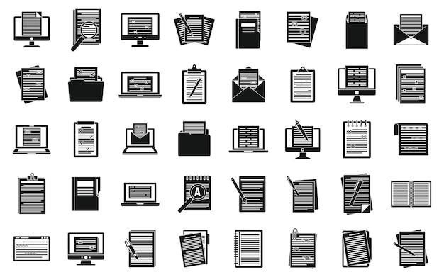 Conjunto de ícones de documento do editor