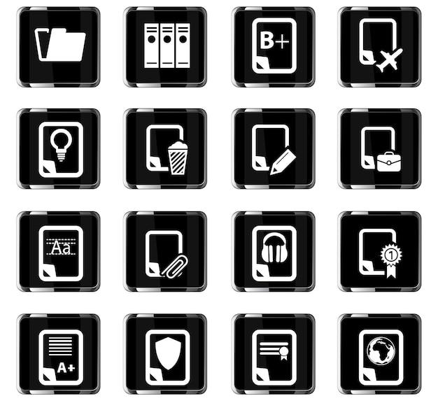 Conjunto de ícones de documentos para sites e interface do usuário