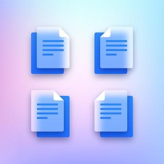Conjunto de ícones de documentos transparentes
