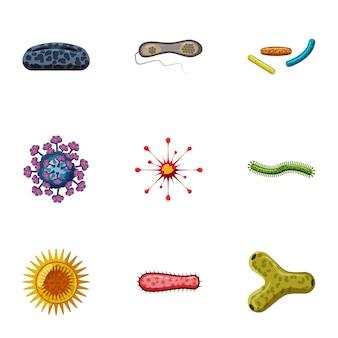 Conjunto de ícones de doença, estilo cartoon