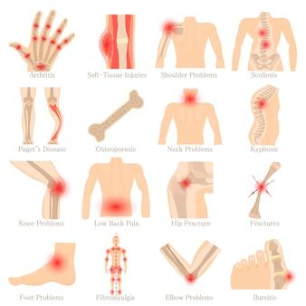 Conjunto de ícones de doenças ortopédicas