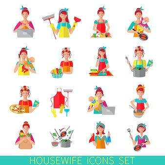 Conjunto de ícones de dona de casa