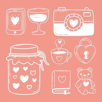 Conjunto de ícones de doodle de amor câmera cadeado livro móvel urso linha branca