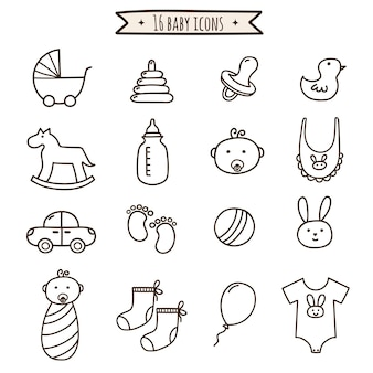 Conjunto de ícones de doodle de bebê