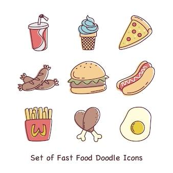 Conjunto de ícones de doodle de fast food ou ilustrações vetoriais em fundos brancos