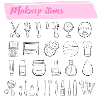 Conjunto de ícones de doodle de kit de maquiagem