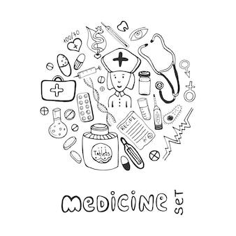 Conjunto de ícones de doodle de medicamentos desenhados à mão. esboça cuidados de saúde e médicos