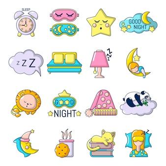 Conjunto de ícones de dormir