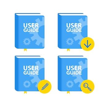 Conjunto de ícones de download de livros do guia do usuário. plano