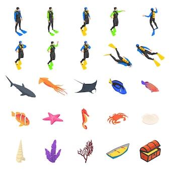 Conjunto de ícones de driver, flora e fauna do fundo do mar em um fundo branco.