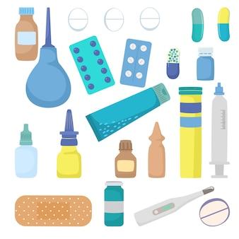 Conjunto de ícones de drogas de farmácia médica medicina casa kit de primeiros socorros termômetro medicamento e bandagem plana v ...