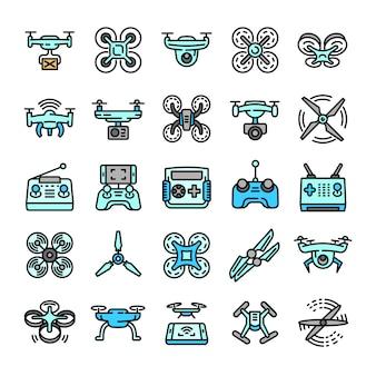 Conjunto de ícones de drone, estilo de estrutura de tópicos