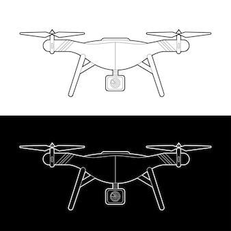 Conjunto de ícones de drones. drones gráficos traçado de contorno em preto e branco ilustrar
